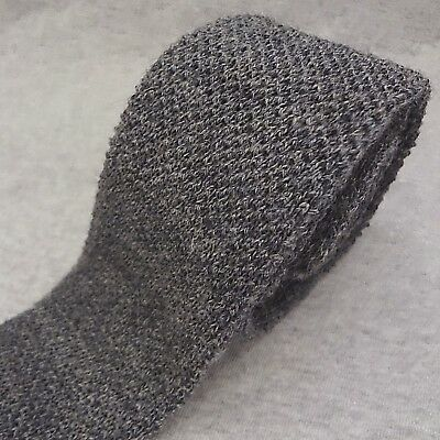 """VINTAGE Private Club KNIT Tie HEATHER GRAY WOOL Made in USA 52"""" x 2.25"""" SKINNY"""