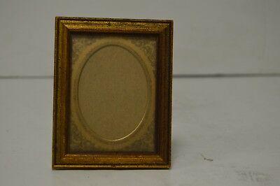 Small Square Vintage / Antique Gilded Frame with Etched Brass, Mat Oval Face