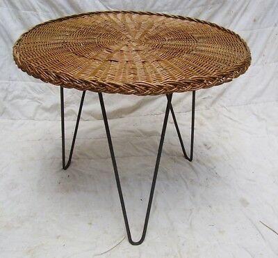 1950/60s mid century terence conran heals C8 wicker coffee table hairpin legs