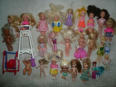 Large Lot of Small Dolls Mainly Kelly & some Baby, Polly Pocket etc