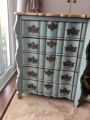 """Attractive Small Victorian """" Painted"""" Duck Egg Blue, Chest Of Drawers"""