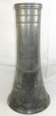 Rare 19Th C Chinese Dragon Engraved Pewter Tall Vessel  Brush Pot Swatow Signed