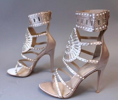 dae31920e3f Public Desire Women s Cleopatra Embellished Heeled Sandals HD3 Rose Gold  Size