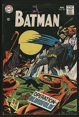 Batman #204 Aug 1968 Nice Original Owner Copy With White Pages & Good Structure
