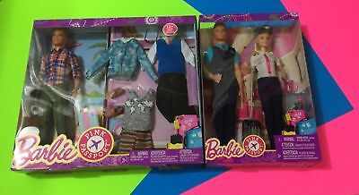 Barbie Pilot Pink Passport Ken Flight Attendant + Ken Doll with Travel Wardrobe