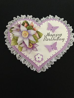 Beautiful 3D Lilac/white Lace Edged Double Heart Card Topper (Birthday)
