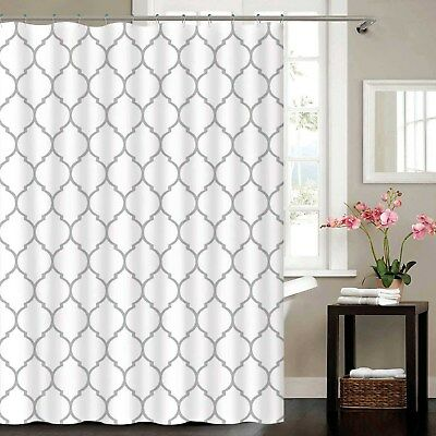 Silver Metallic Sparkle White Moroccan Fabric Polyester Shower Curtain 180 x 180