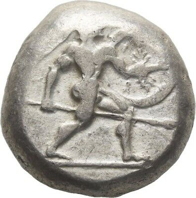 Lanz Greek Pamphylia Aspendos Stater Warrior Triskeles Spear Shield Ar ±Tez2054
