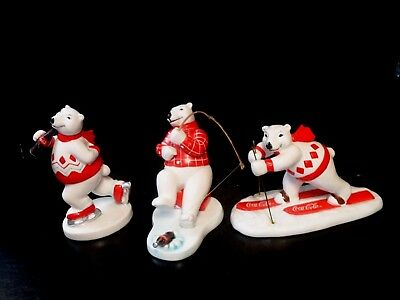 Set of 3 1995 Coca Cola Polar Bear Ceramic Figures by Enesco