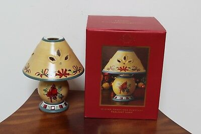 Lenox Winter Greetings Everyday Candle Tea Lamp With Red Cardinal ~ New In Box