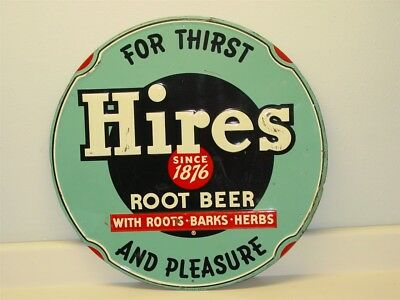 """Vintage Original Hires Root Beer Sign, Round, """"For Thirst And Pleasure"""""""