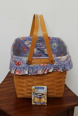 Longaberger 1998 Grandma Bonnie Two Pie Basket With Protector & Liner Combo