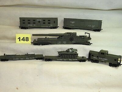 Set Of Six U.s. Army Ho Freight Cars By Cox In Excellent Condition, Ready To Run