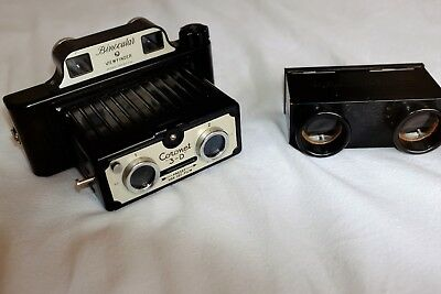 Vintage British Bakelite Coronet 3-D Stereo Camera & A Metal Stereo Viewer