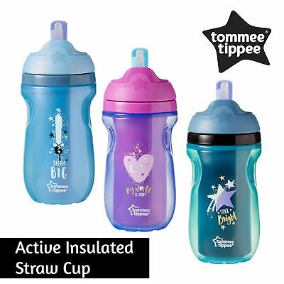 Tommee Tippee Active Insulated Straw Cup 12m+ Baby│BPA Free Super Soft Straw│New