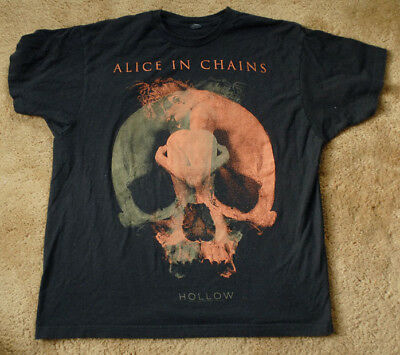 ALICE IN CHAINS Hollow 2004 tour cities list black t shirt short sleeve size XL