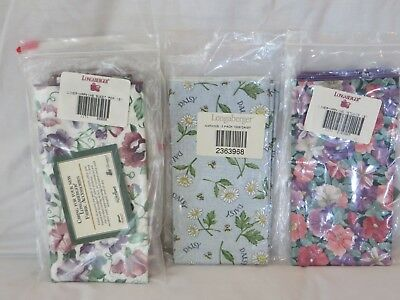 FIVE SETS of Retired Longaberger Floral Napkins SWEET PEA DAISY PETUNIA NEW USA
