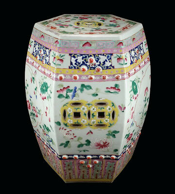 Heavy Antique Chinese Porcelain Garden Seat Stool Famille Rose Decoration China