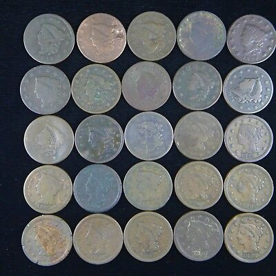 LOT OF 25 DIFFERENT LARGE CENTS - Circulated Condition  - Low Grade