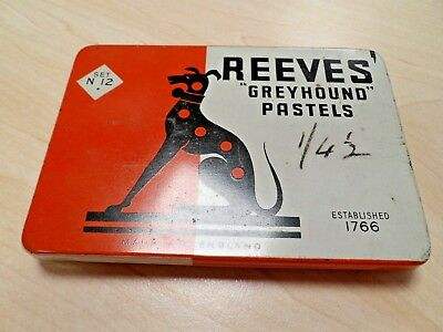 "Vintage Tin of Reeves ""Greyhound"" Pastels No. 12"