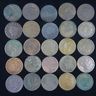 LOT OF 25 DIFFERENT LARGE CENTS - Circulated Condition  - Very Low Grade, Culls