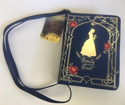 New Disney Beauty and the Beast Gold Detail Story Book Purse Handbag w Adj Strap