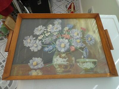 Vintage Wooden Serving Tray Flower Decor