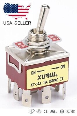 Heavy Duty 3Pdt On-On Toggle Switch 20A 125V, 15A 250V Spade Terminals (32A)