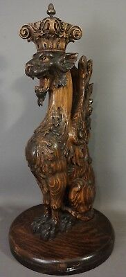 Ca.1910 Antique CARVED Wood WINGED Lion GRIFFIN STATUE Old ARCHITECTURAL SALVAGE