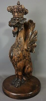 LG Ca.1910 Antique CARVED Wood WINGED Lion GRIFFIN STATUE Old SCULPTURE SALVAGE