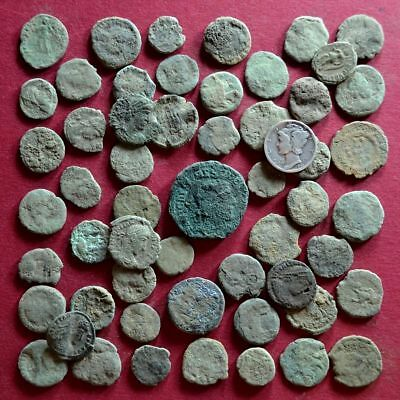 Lot of 55 A1 Follis Maiorina AE2 AE3 AE4 Low quality Roman coins - uncleaned #1