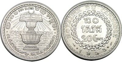 elf Cambodia French 20 Centimes 1953