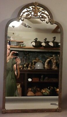 1920's Antique OSCAR BACH Hammered WROUGHT IRON Figural SAD THEATER Face MIRROR