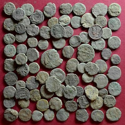 Lot of 85 A1 Follis Maiorina AE2 AE3 AE4 Low quality Roman coins - uncleaned #4
