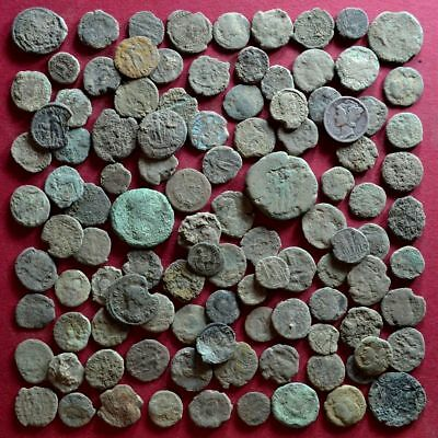 Lot of 105 A1 Follis Maiorina AE2 AE3 AE4 Low quality Roman coins - uncleaned #6