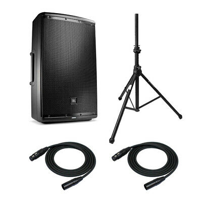 "JBL EON615 15"" Two-way PA System with Knox Gear Speaker Stands & XLR Mic Cables"