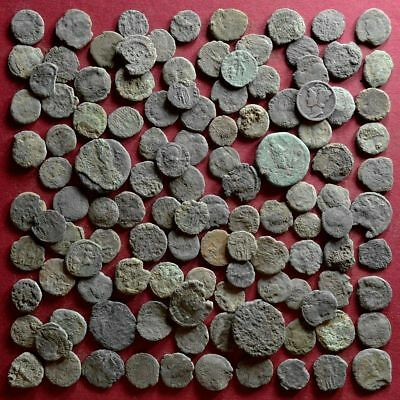 Lot of 115 A1 Follis Maiorina AE2 AE3 AE4 Low quality Roman coins - uncleaned #7