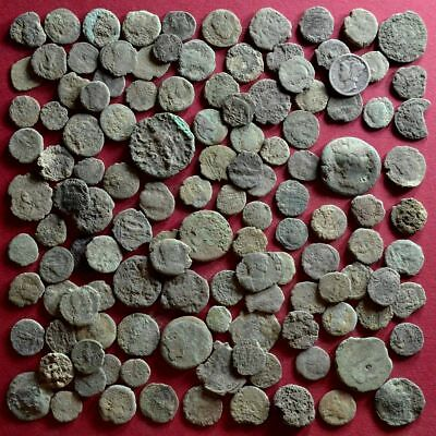 Lot of 125 A1 Follis Maiorina AE2 AE3 AE4 Low quality Roman coins - uncleaned #8