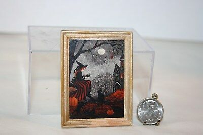 Miniature Dollhouse Halloween Picture Spooky Witch Black Cat & Haunted House NR