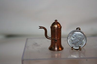 Miniature Dollhouse Unusual Gooseneck Copper Pot w Spigot Nice Aged Patina 1:12