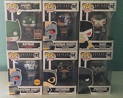 New Funko Pop Lot 6 - Batman Robot Chase Animated Series Catwoman Bane Sdcc