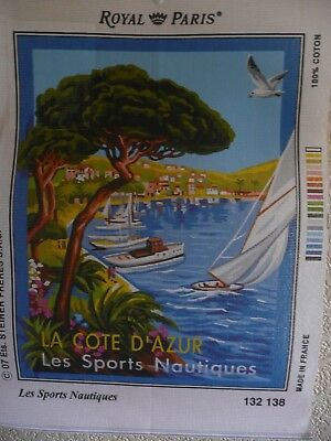 """Tapestry Canvas """" Les Sports Nautiques""""  New by Royal Paris"""