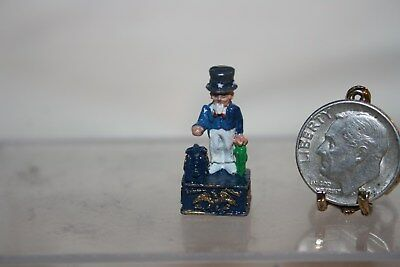 Mniature Dollhouse Artist PA Replica Antique Cast Metal Mechanical Uncle Sam Ban