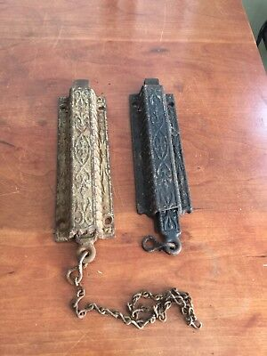 Antique Eastlake Victorian Fancy Cast  Iron Spring Loaded Pull Chain Door Latch