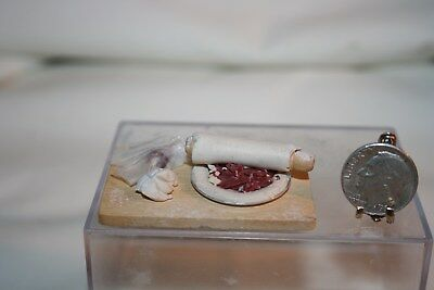 Miniature Dollhouse Artisan Prep Board w Meat Pie Baking Rolled Dough Flour NR