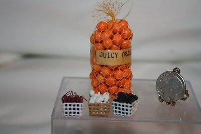 Miniature Dollhouse Vintage Bag Oranges Pints Cherries Blackberries Mushrooms NR