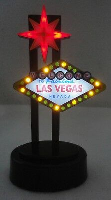 "WELCOME TO Fabulous Las Vegas NEVADA 6"" Mini Desktop Light-Up Flashing Sign"