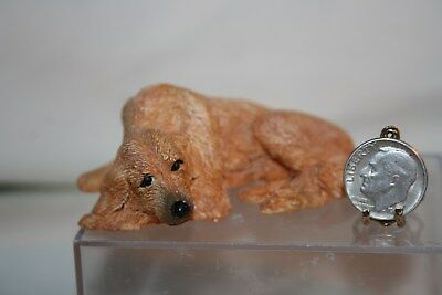 Miniature Dollhouse Old Tired Golden Retriever Dog Lying Down 1:12 NR
