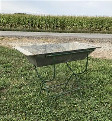 Vintage Galvanized Zinc Baby Bath Tub with Stand Bath Tub Planter Farmhouse Sink