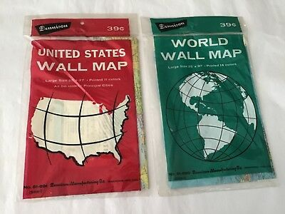 Vintage 2 Dennison wall maps #51-890 The World and #51-891 United States